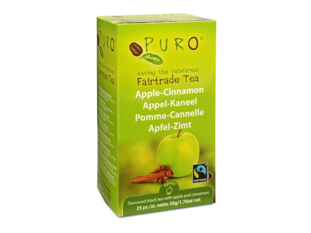 Fairtrade čaj porcovaný Puro jablko skořice 25x2g