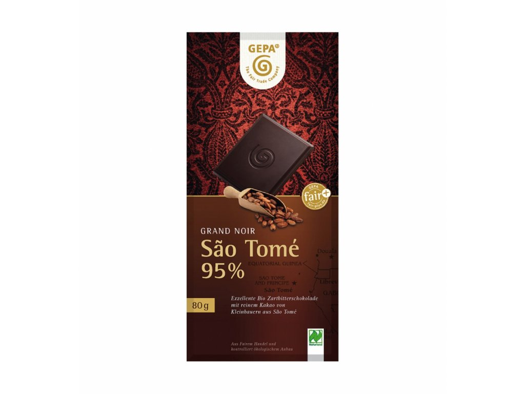 BIO Grand Noir, Sao Tomé  hořká čokoláda 95%, 80 g