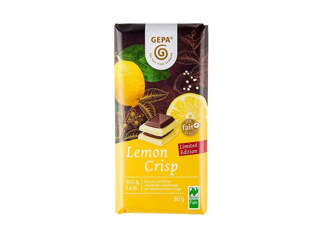Bio bílá čokoláda s citrónovými kousky a hořkou čokoládou 80 g