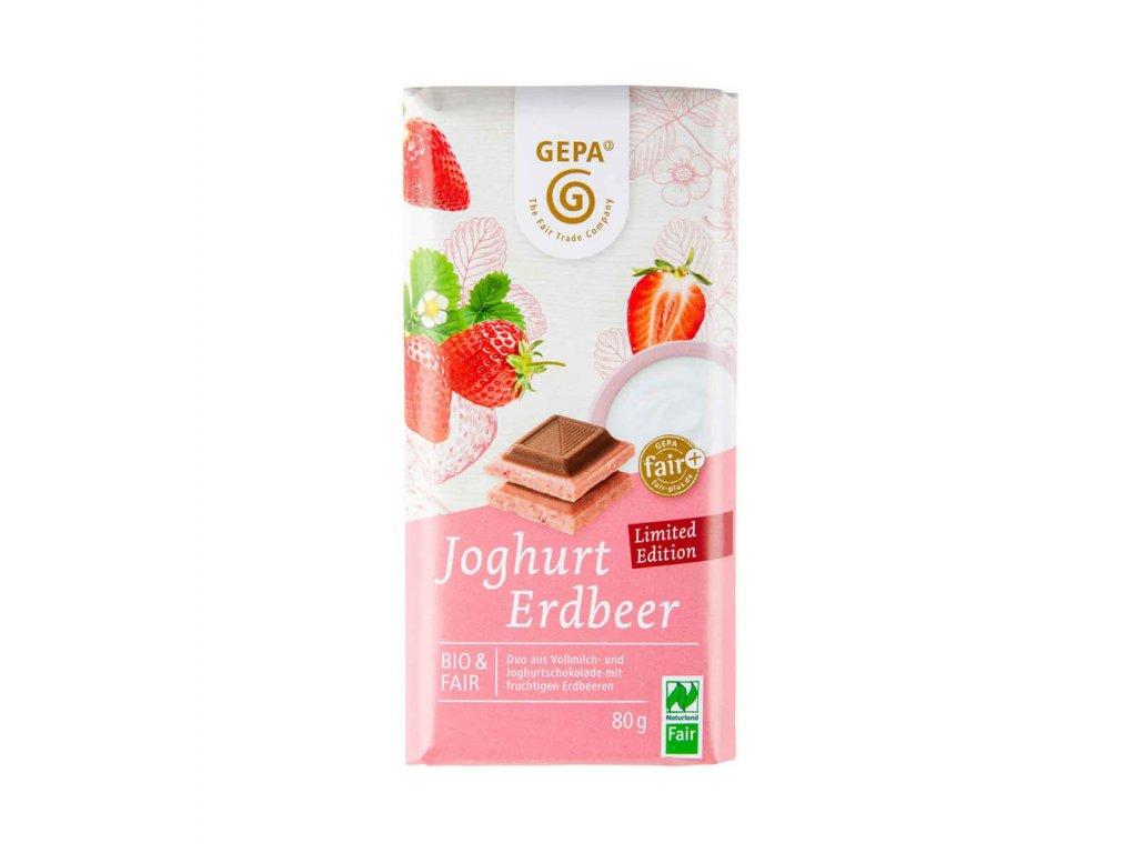 Bio bílá čokoláda s jahodami a mléčnou čokoládou 80g