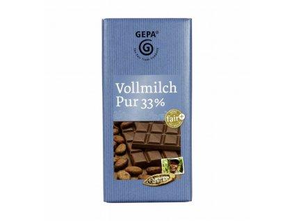 FAIRTRADE mléčná čokoláda 33%, 100 g