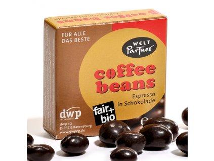 BIO kávová zrna v hořké čokoládě, 25 g