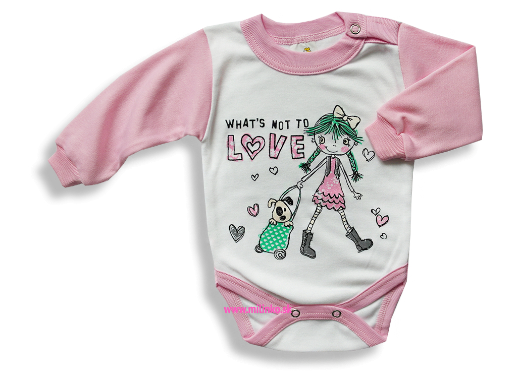 Detské body - GIRL, ružovo-biele