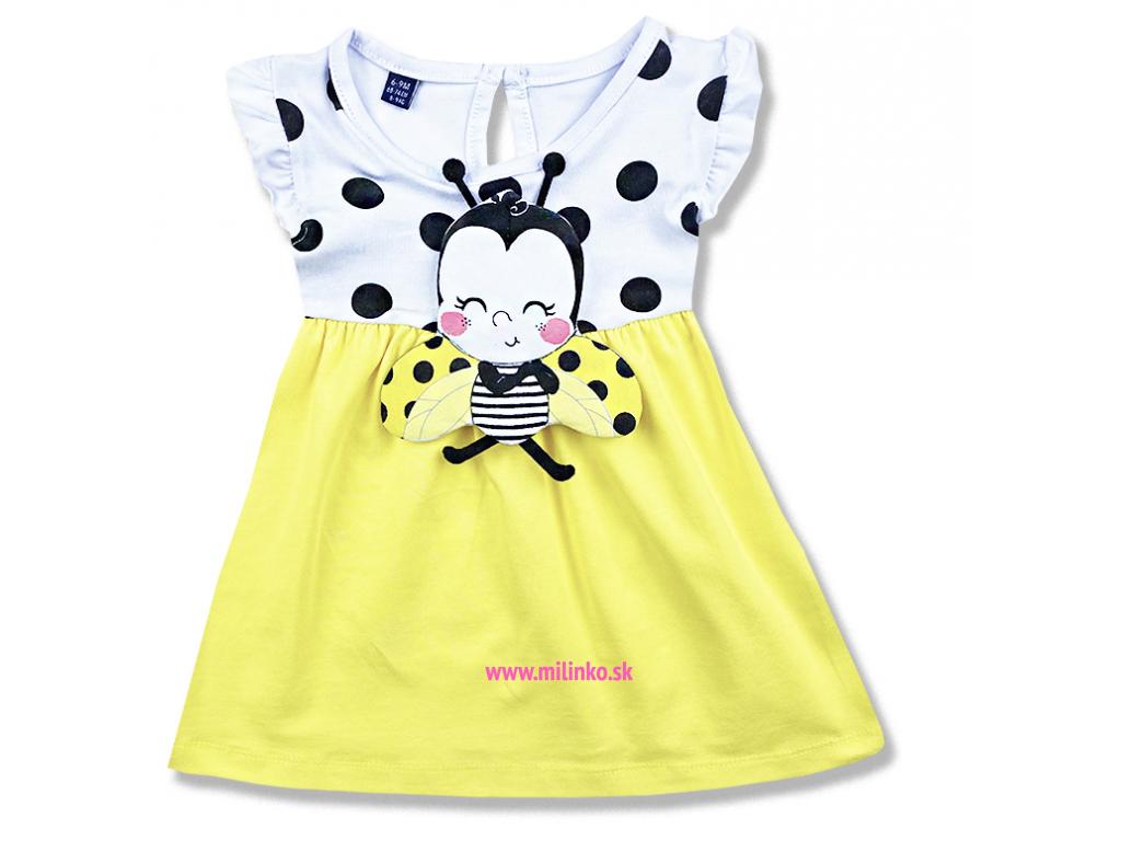 Letné šaty pre bábätká Lienka, žlté1