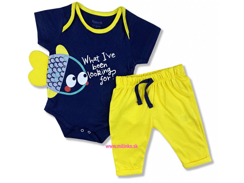 2dielny set pre bábätká Rybička, tmavomodrý so žltým