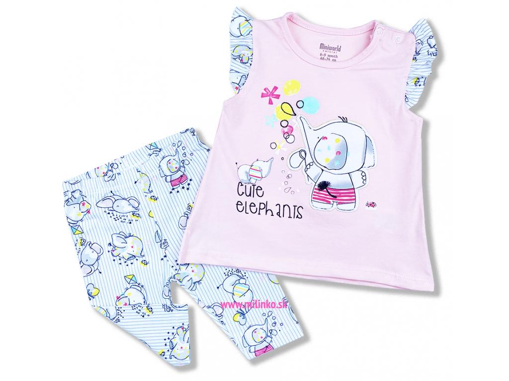 2dielny set pre bábätká Cute Elephants, ružové