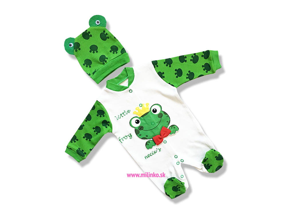 4b2c5db28 2dielna kojenecká súpravička: dupačky+čiapka– Žabka - Eshop-Milinko