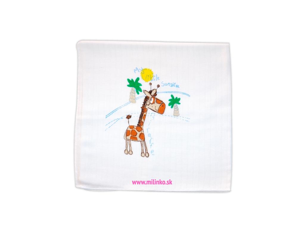 Detská bavlnená plienka s potlačou- ŽIRAFA