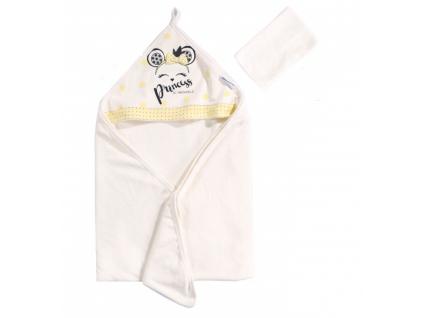 Detská osuška s kapucňou- Princess, bielo-žltá