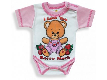 Detské body, krátky rukáv - BERRY, ružovo-biele