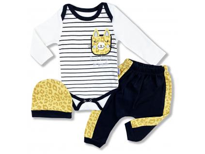 3dielny kojenecký set Leopard, horčicový