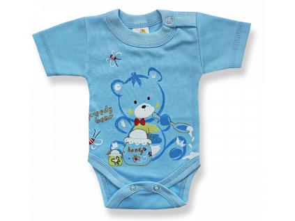 Kojenecké body, krátky rukáv - GREEDY BEAR, modré