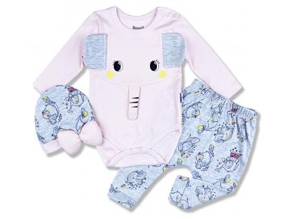 3dielny set pre bábätká Sloník, ružový