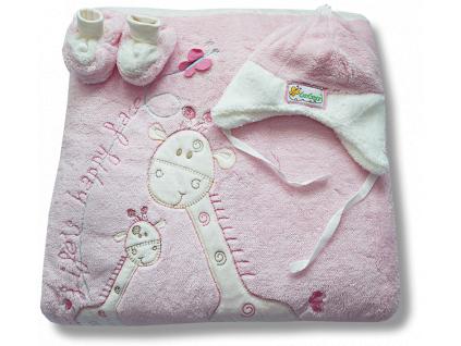 Teplučký VELSOFT spací vak 3v1- ŽIRAFA, bl.ružový