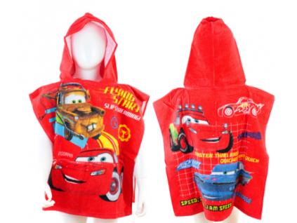Detské pončo BABY - cars, čevené 50x100