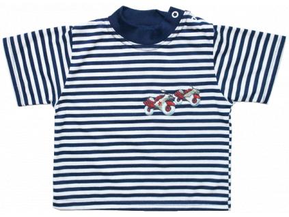 Detské tričko s krátkym rukávom - MOTORKY, pásikavé