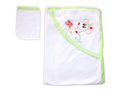 Detská osuška s kapucňou- ŽIRAFA, bielo-zelená