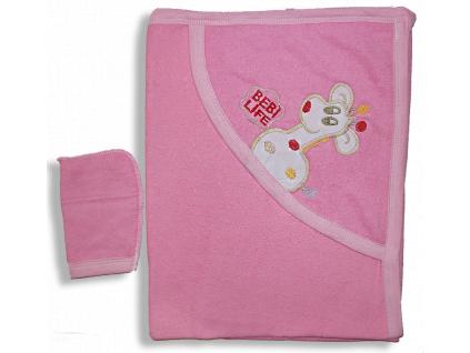 Detská osuška s kapucňou - ŽIRAFA, ružová