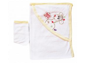 Detská osuška s kapucňou- ŽIRAFA, bielo-žltá