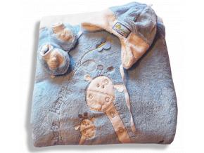 Teplučký VELSOFT spací vak 3v1- ŽIRAFA, modrý
