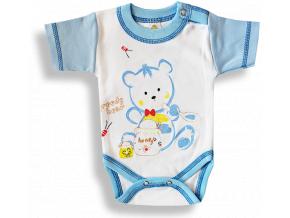Detské body, krátky rukáv- GREEDY BEAR, modro-biele