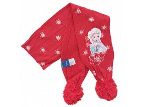Pletený dievčenský šál - Frozen, červený
