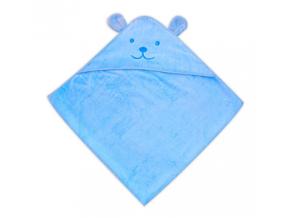 Detský uterák s uškami- MEDVEDÍK, modrý