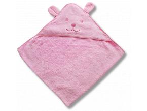 Detský uterák s uškami- MEDVEDÍK, ružový