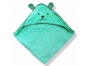 Detský uterák s uškami- MEDVEDÍK, zelený