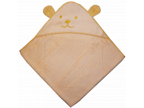 Detský uterák s uškami- MEDVEDÍK, marhuľový