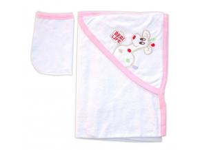 Detská osuška s kapucňou- ŽIRAFA, bielo-ružová