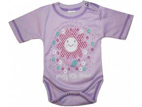 Detské body, krátky rukáv-LITTLE FLOWER, fialové