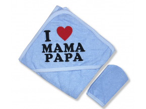 Detská osuška s kapucňou - I LOVE M&P, modrá