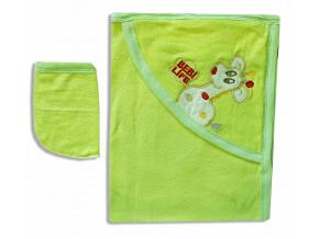 Detská osuška s kapucňou - ŽIRAFA, zelená