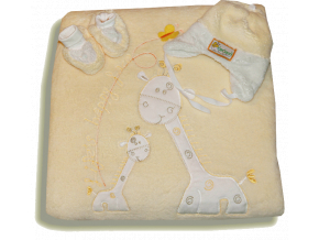 Teplučký VELSOFT spací vak 3v1- ŽIRAFA, žltý