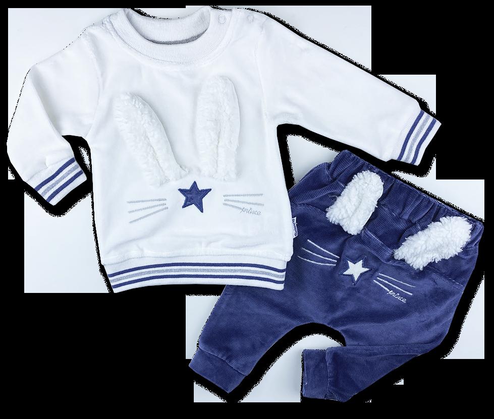 2dielna súprava pre bábätká - Plyšový zajko, modrý veľkosť: 68-74