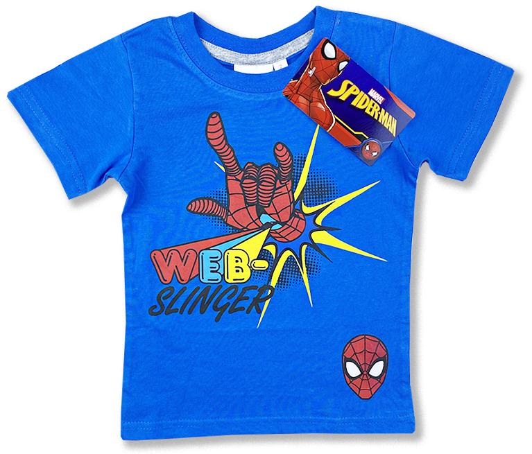 Detské tričko na krátky rukáv - Spiderman, modré veľkosť: 104
