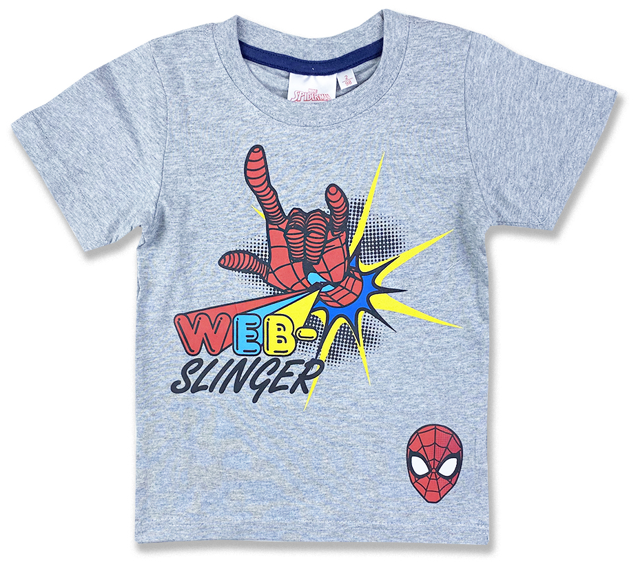 Detské tričko na krátky rukáv - Spiderman, sivé veľkosť: 104