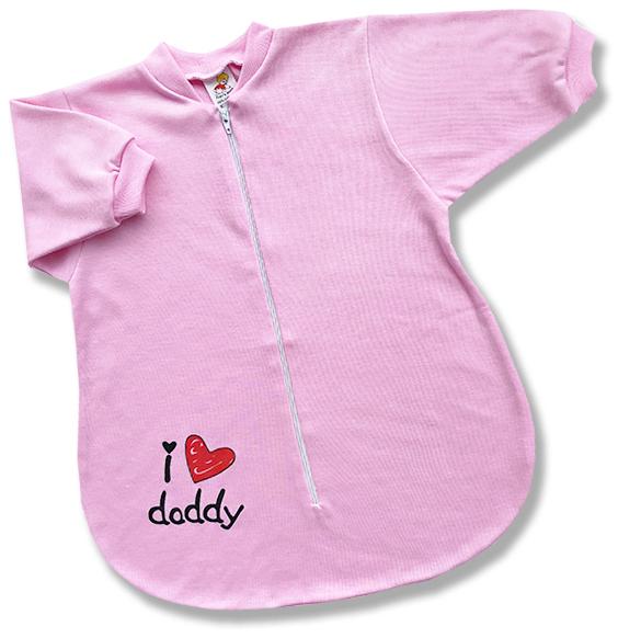 Spací vak pre bábätká - Daddy, ružový veľkosť: 56