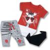 3dielny kojenecký set - Zebra, červený