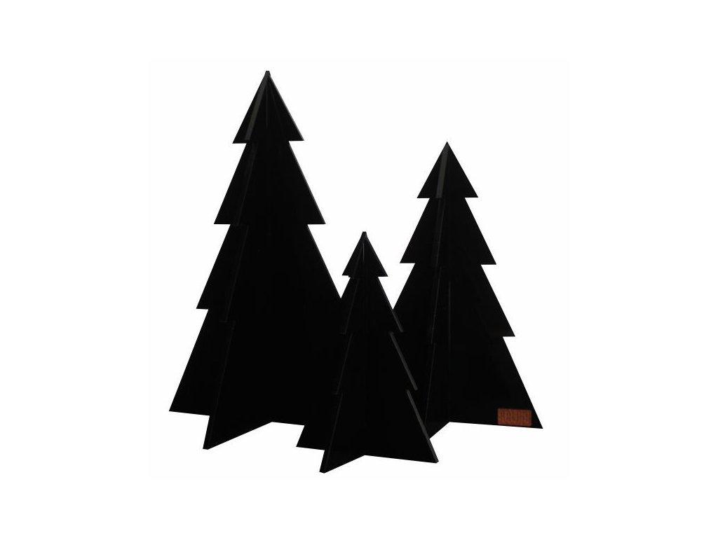 Sada vánočních stromečků - černá, 3ks