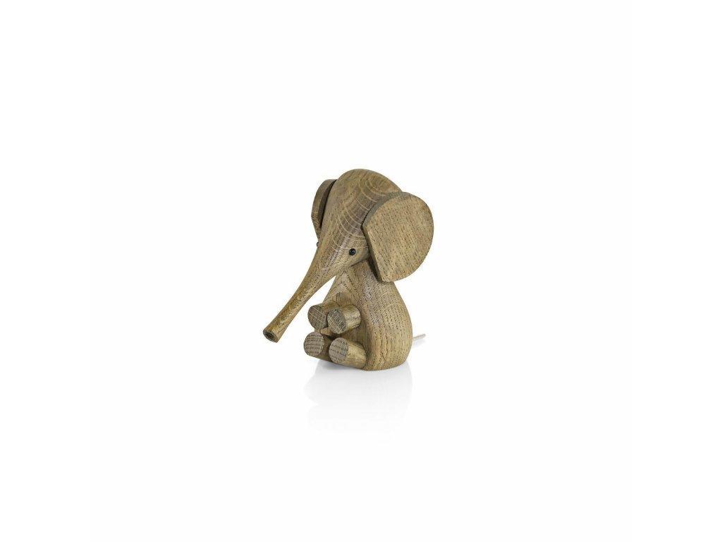 Dřevěný slon Smoaked Oak  - 11 cm