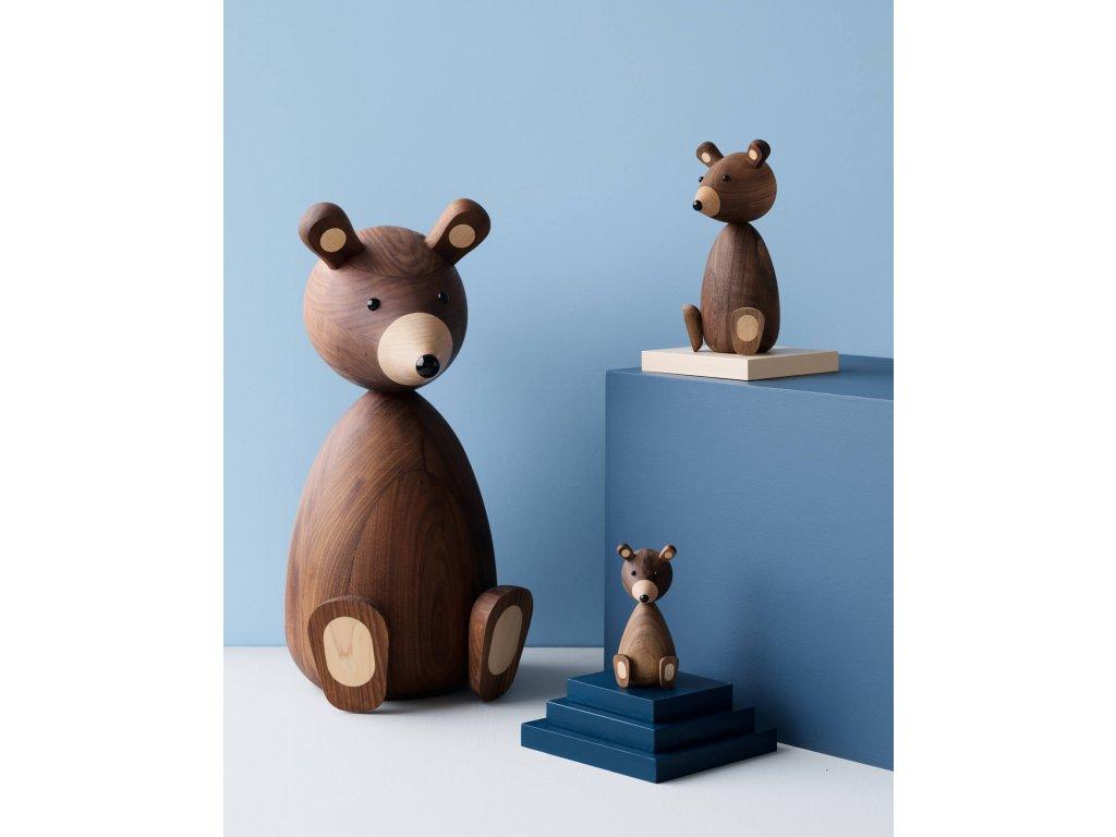 Dřevěný medvídek Papa Bear  - 23,5 cm