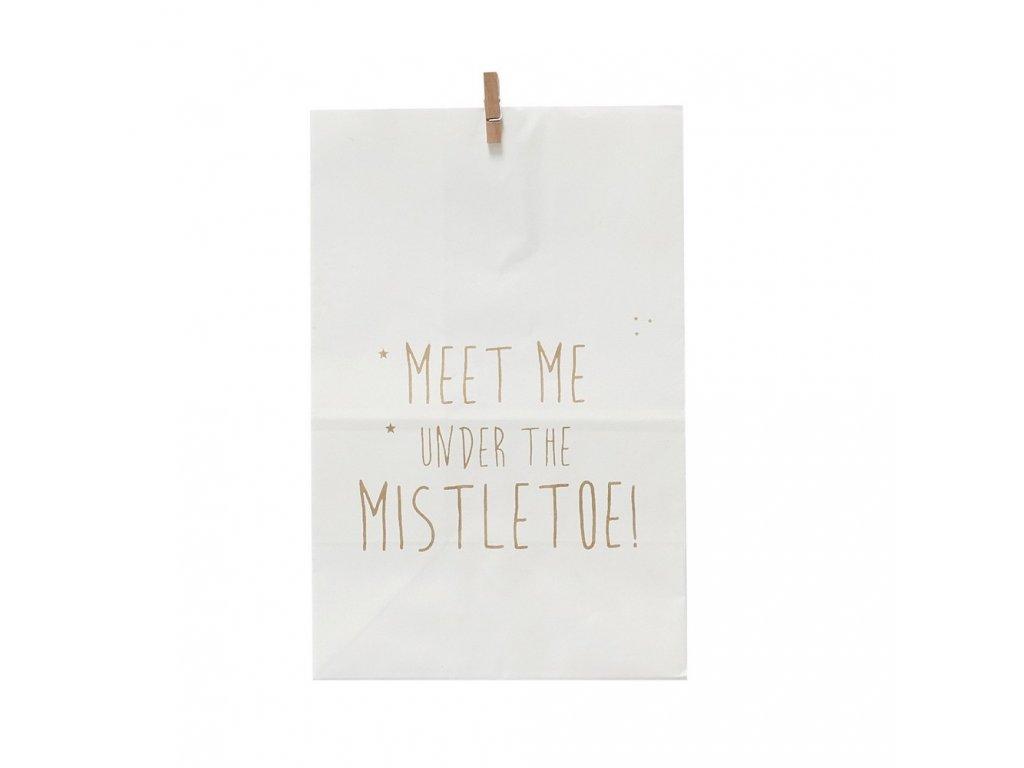 Papírový sáček White - Mistletoe