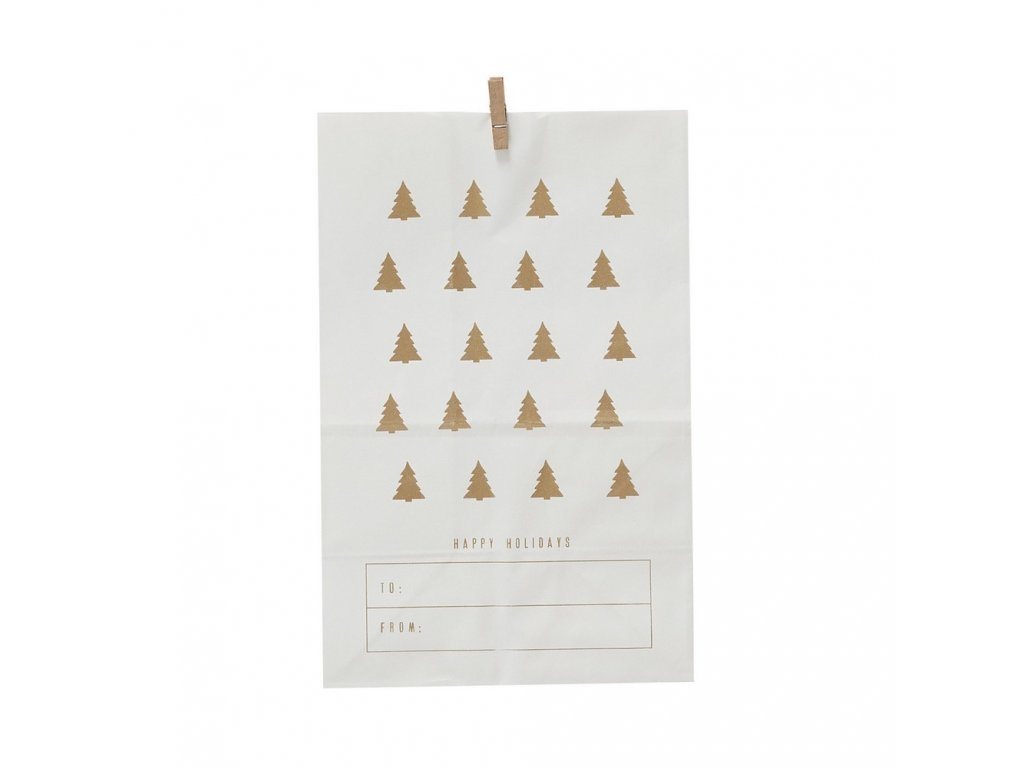 Papírový sáček White - Gold Trees