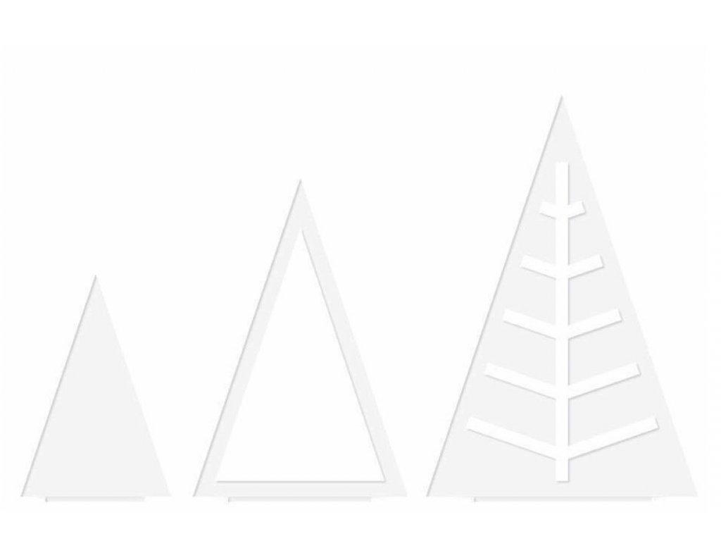 Sada vánočních stromečků Triangle - bílá, 3ks
