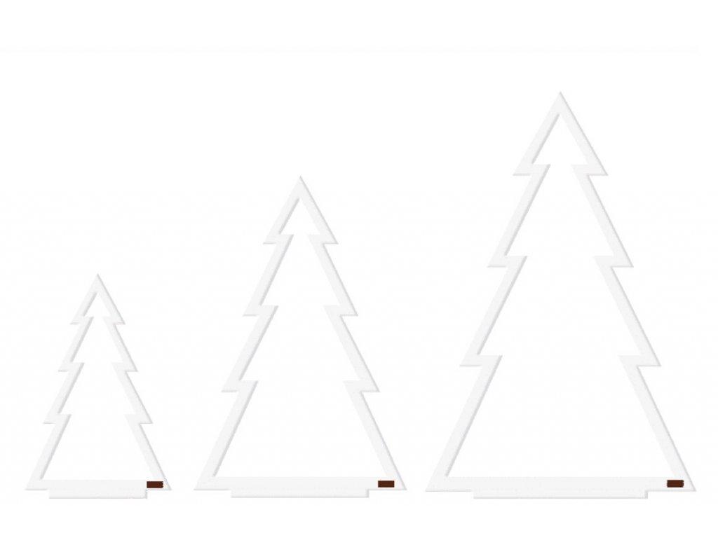 Bílá sada vánočních stromečků - vykrojená, 3ks