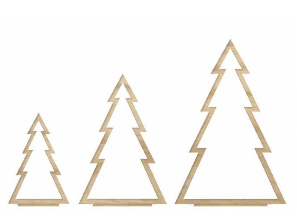 Dřevěná sada vánočních stromečků - vykrojená, 3ks