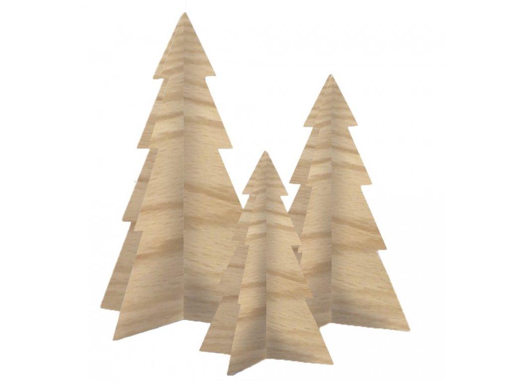 Sada vánočních stromečků - dřevěná, 3ks