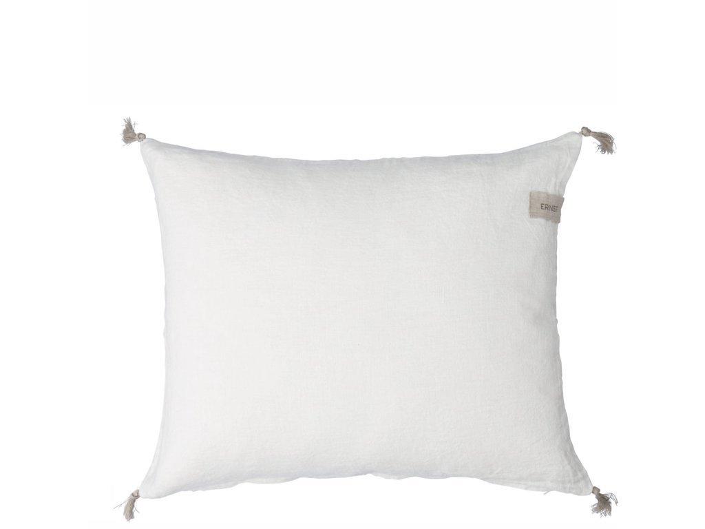 Lněný povlak na polštář se střapci - White